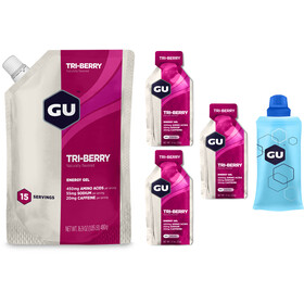 GU Energy Gel Kombipaket Tri Berry Vorratsbeutel 480g + Gel 3 x 32g + Flask